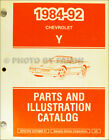 1984 1992 Corvette Parts Book Original Chevy Illustrated Master Part Catalog