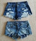 Lot of 2 American Eagle Distressed Jean Shorts size 6 Shortie  Hi Rise Festival