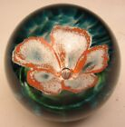 Wilkerson Art Glass Contemporary Orange and White flower Paperweight made 2002