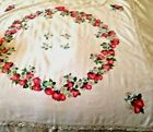 Vintage Strawberries Table cloth cottage chic crochet lace edge 38 Spring