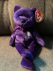 Ty Beanie Babies Diana, Princess of Wales, Plush Purple Bear w White Flower