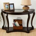 Entryway Console Table Carved Shelf Glass Top Dark Brown Wood Veneer Sofa Accent