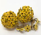 Vintage Yellow Puff Ball Daisy Flower Enameled Earrings Clip ons UNIQUE