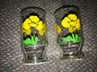 Vintage Fire King / AH Yellow Foxy Flowers 6 Oz Juice Glasses x 2 Excellent