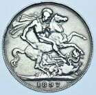 1897 LXI CROWN BRITISH SILVER COIN FROM VICTORIA VF