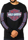 Harley Davidson Mens Red White & Blue B&S Logo Black Long Sleeve Biker T Shirt