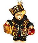 Christopher Radko MUFFY Vanderbear BLOOMIES SHOPPER Leopard Print Ornament New