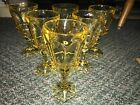 Lot Of 6 Honey Amber Vintage Wine Goblets Glasses