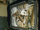 Indian On Horse Hunting woven Tapestry throw blanket Native American