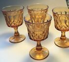Vintage 5 inch Amber Glass Footed Ice Cream Sundae Sherbert Desert Goblets Set 4