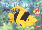 TY Beanie Babies BBOC Card - Series 1 Birthday (SILVER) - BUBBLES the Fish -NM/M