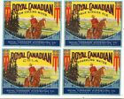 Four Colorful Royal Canadian Soda Labels