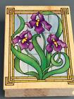 STAINED GLASS IRISES All Night Media Rubber Stamp 223J MADE IN USA RETIRED
