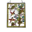 Stained Glass Window Panel Humming Birds Tiffany Style 18 Wide x 25 High