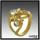 Lalique Bramble Gold Ring 58 size 8 Hearts Crossing Cabochons Ronces MIB