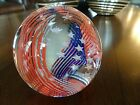 Vintage Caithness Glass Scotland Stars  Stripes Paperweight Red White  Blue