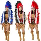 Indian Headdress Adult Native American Costume Feather Chief Fancy Dress