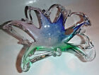 Murano Glassware Crystal Clear Art Glass Bowl Made in Italy Pink Blue  Green