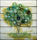 Mary Hong Tree 0137 glass on painted canvas board Hand Signed Make an Offer