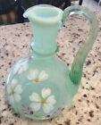 Fenton Art Glass Handpainted Flowers Light Green Pitcher With Handle Mint Signed