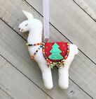 Llama Christmas Ornament  Holiday Felt Embroidery Kit  Two-sided, Makes 1