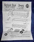 Vtg 1969 The Lindberg Line Mini-Lindy School Bus #23 *instruction sheet only*