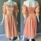 Victorian Edwardian Coral Vintage Puff Sleeve Lace Dress Gown Size XS Hand Made