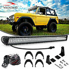 50inch 288W LED Light Bar+Wiring Combo Kit Fit For Jeep Wrangler YJ 87-95