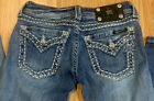 Miss Me boot cut jeans size 25 Inseam 31 distressed stretch low vintage wash