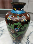 Antique Chinese Cloisonne Goldstone Floral Vase