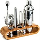 10 pcs Bartender Kit Cocktail Shaker Set Stainless Tools with Bamboo Stand