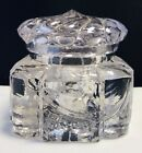 ANTIQUE Victorian ART NOUVEAU GLASS INKWELL With Pinwheel Design Lid