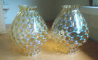 PAIR OF BEAUTIFUL YELLOW COIN DOT OPALESCENT GLASS LAMP CHIMNEY GLOBES