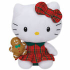 TY Beanie Babies Hello Kitty Christmas Plaid Dress w/ Gingerbread New with tags