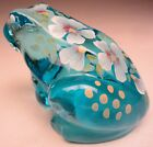 Fenton Frog Hand Painted Blue Topaz No 5274XJ Into the Pond Collection 2002 03