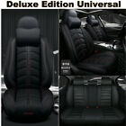 PU Luxury Leather Car Seat Covers Full Set Universal Black For 5 Seats Car