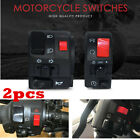 2PC Motorcycle 22mm 7/8in Handle Bar Ignition Engine Stop Lamp Horn Light Switch