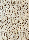 Brown Music Notes on Ivory Cotton Fabric 9 x 42