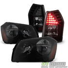 Blk Smoke 2005-2007 Dodge Magnum Headlights Headlamps +LED Tail Lights Lamps Set