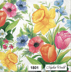 1801 TWO Individual Paper LUNCHEON Decoupage Napkins SPRING FLOWERS ASSORT