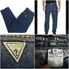 Vtg 90s Guess Pascal 075 loose fit tapered leg Blue Jean 38 x 30 green tag Nice