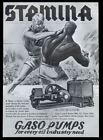 1937 Gaso oil well drilling pump boxing match art vintage trade print ad