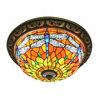 Tiffany Style Flush Mount Ceiling Light Lamp Dragonfly Stained Glass Chandelier