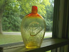BEAUTIFUL YELLOW  RED AMBERINA BLENKO GLASS WASHINGTON EAGLE HAND BLOWN FLASK