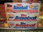 1989 + 1990 + 1991 TOPPS BASEBALL FACTORY SEALED SETS LOT RED WHITE BLUE BOXES