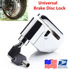 Stainless Steel Motorcycle Brake Disk Alarm Anti-theft Wheel Disc Lock -US Stock