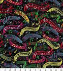 Colorful Music Notes 100 cotton fabric Fat Quarter for face masks or crafts