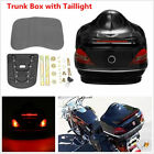 Black Glossy Motorcycle Tail Trunk Box with Taillight Brake Turn Light -US Stock