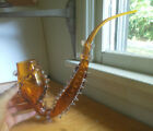 1880s ART GLASS HAND BLOWN 15SMOKING PIPE WITH APPLIED CLEAR RIGAREE DECORATION