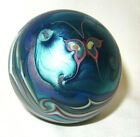 LUNDBERG Studios Art Glass Paperweight BUTTERFLY and PULLED FEATHER WAVES 1977